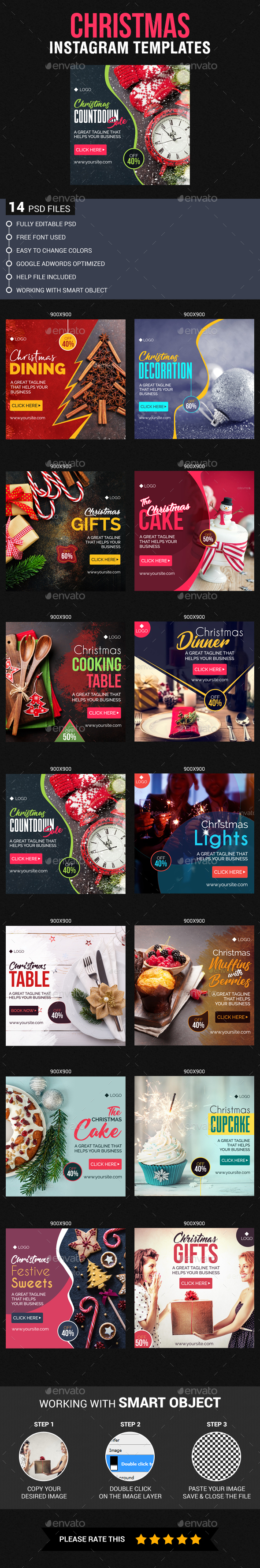 GraphicRiver Christmas Instagram Templates 21078161