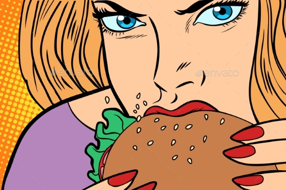 GraphicRiver Woman Eats Burger 21078225