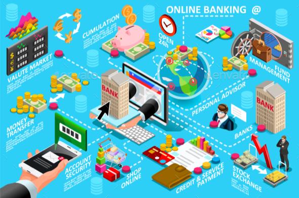 Digital Online Banking Vector Illustration - Vectors
