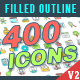 400 Filled Outline Icons