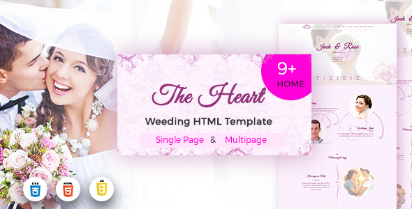 ThemeForest The Heart Modern Onepage & Multipage Wedding Template 21078307