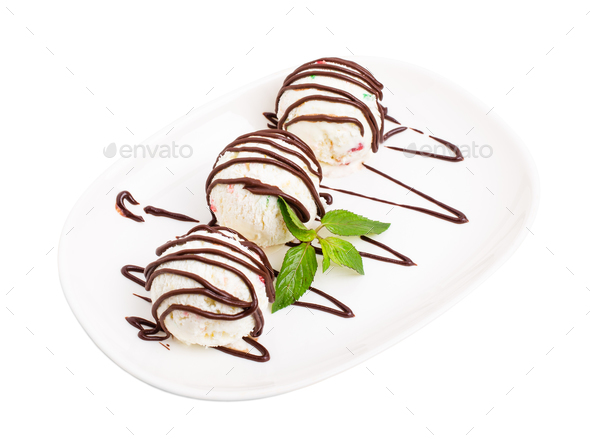 Delicious ice cream with candied fruits. - Stock Photo - Images