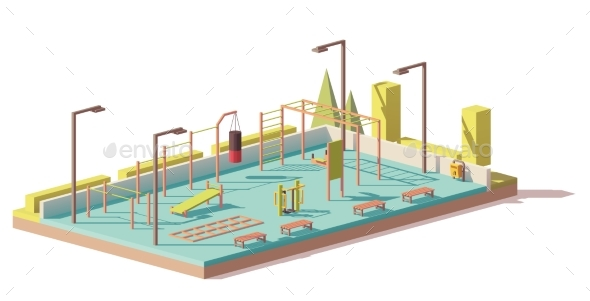 GraphicRiver Vector Low Poly Street Fitness Gym 21078401