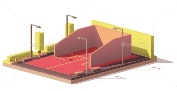 GraphicRiver Vector Low Poly Squash Court 21078403