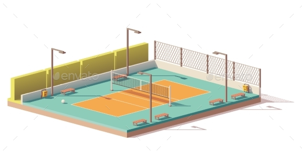 GraphicRiver Vector Low Poly Volleyball Court 21078404