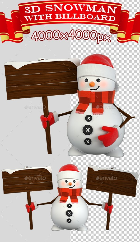 3D Snowman With Billboard - Characters 3D Renders