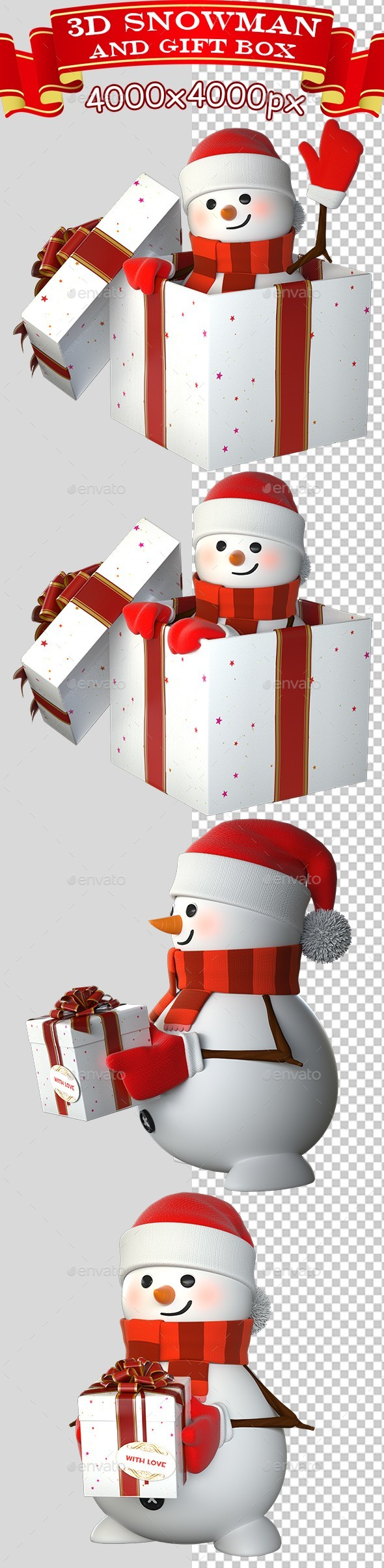 3D Snowman And Gift Box - Characters 3D Renders