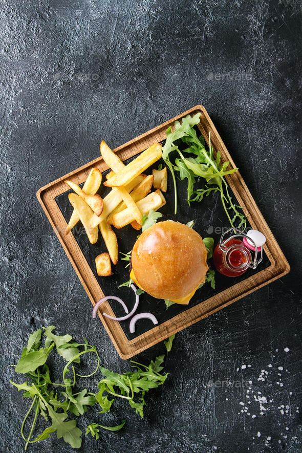 Hamburger with french fries - Stock Photo - Images
