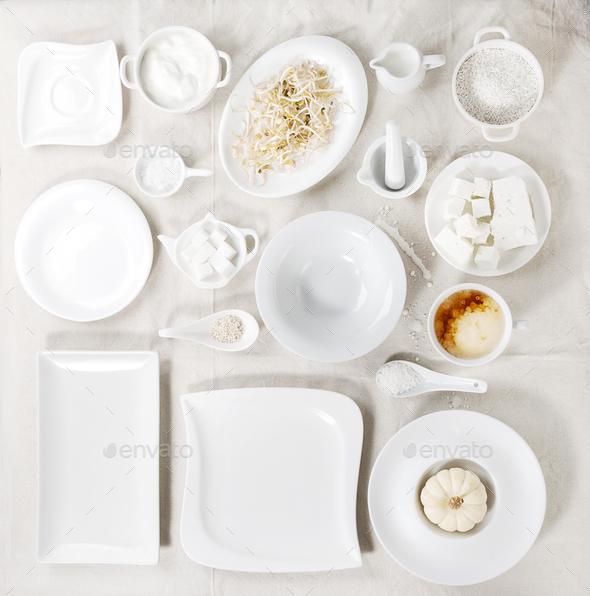 Set of white plates - Stock Photo - Images