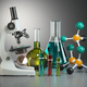 Microscope with flasks, vials and model of molecule. Chemistry o - PhotoDune Item for Sale
