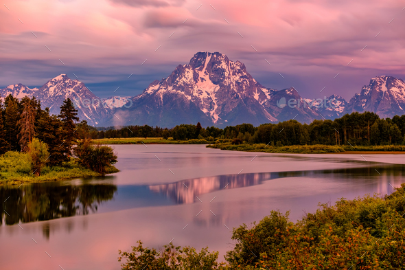 Mountains in Grand Teton National Park at sunrise. Oxbow Bend on the Snake River. - Stock Photo - Images