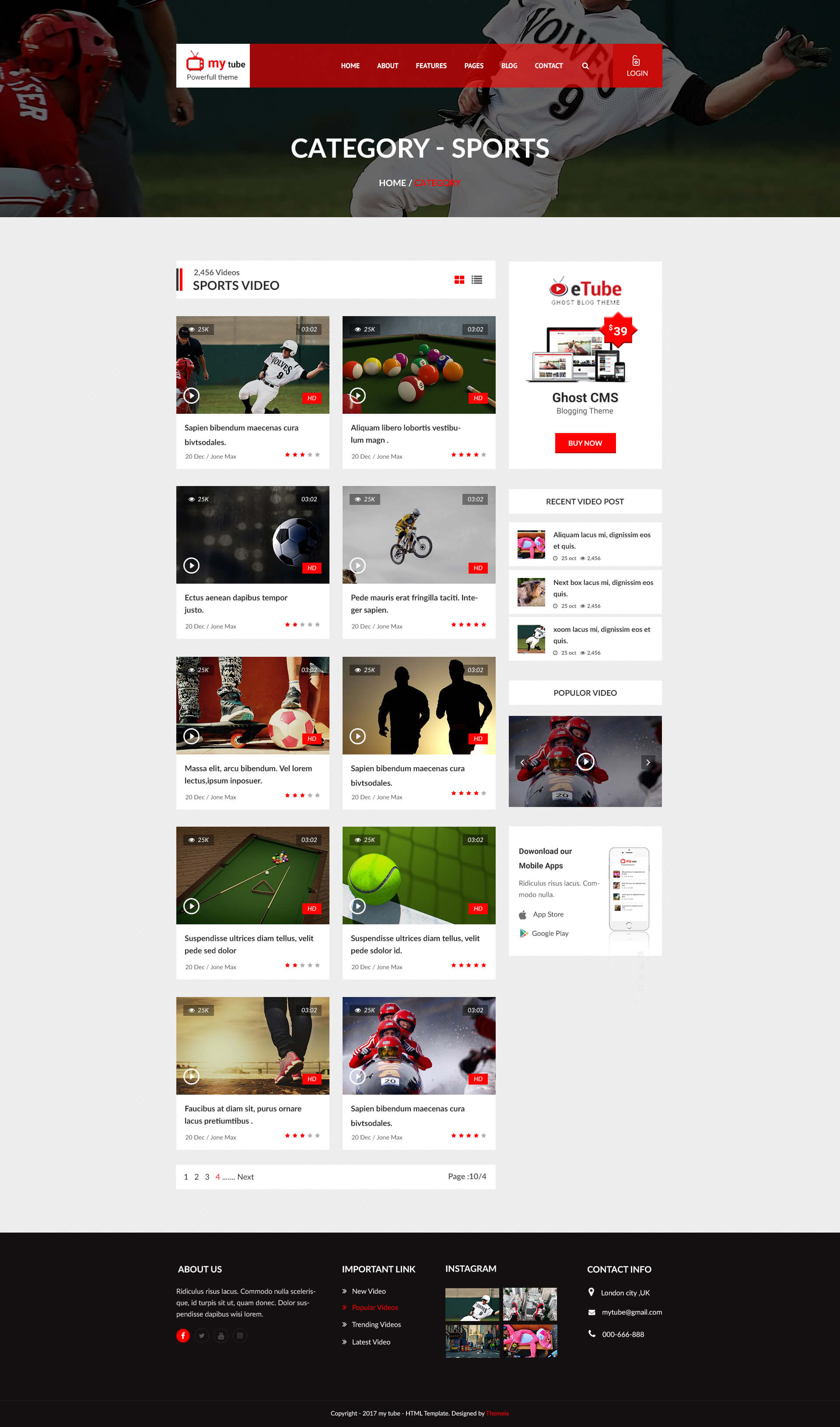 Mytube Video Blog Site Psd Template By Themeix Themeforest