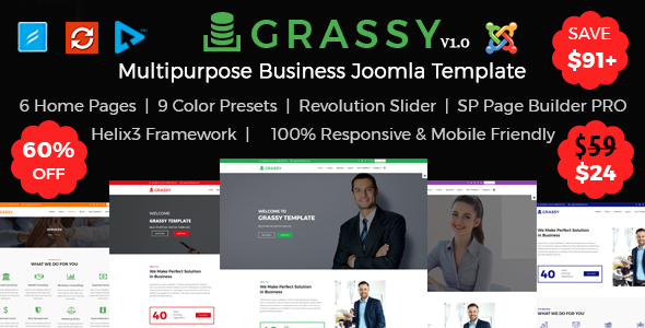 Download Grassy - Multipurpose Business, Corporate and  Finance Joomla Template