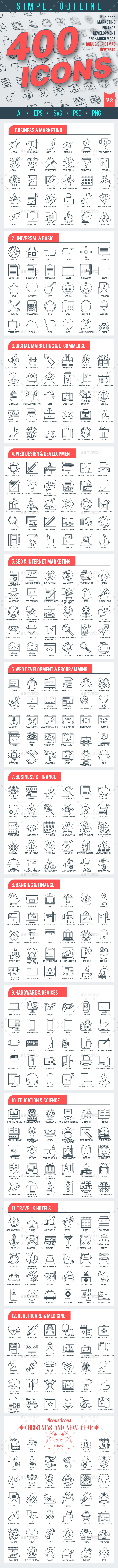 Outline Icons Pack - Business Icons