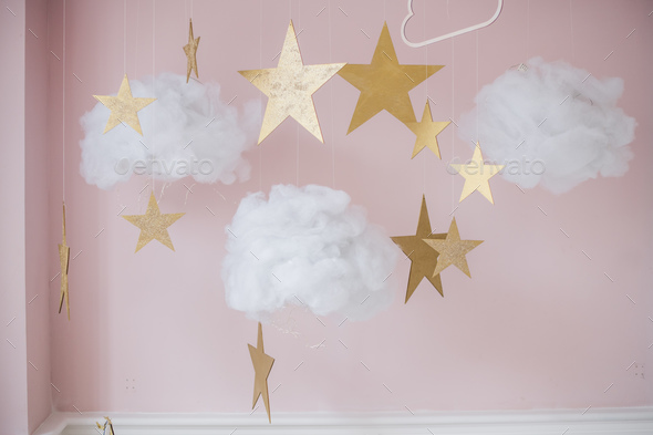 Picture of pretty stars and clouds hanging decoration for kids - Stock Photo - Images