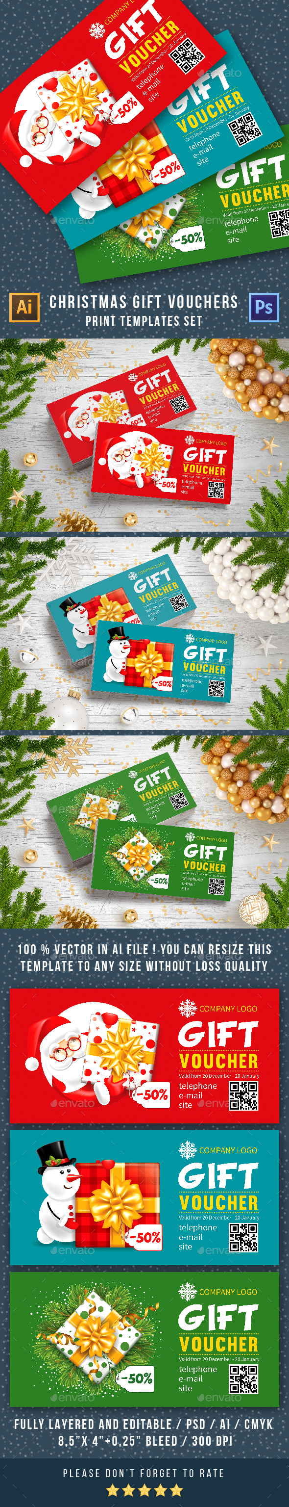 Christmas Gift Card Templates - Loyalty Cards Cards & Invites