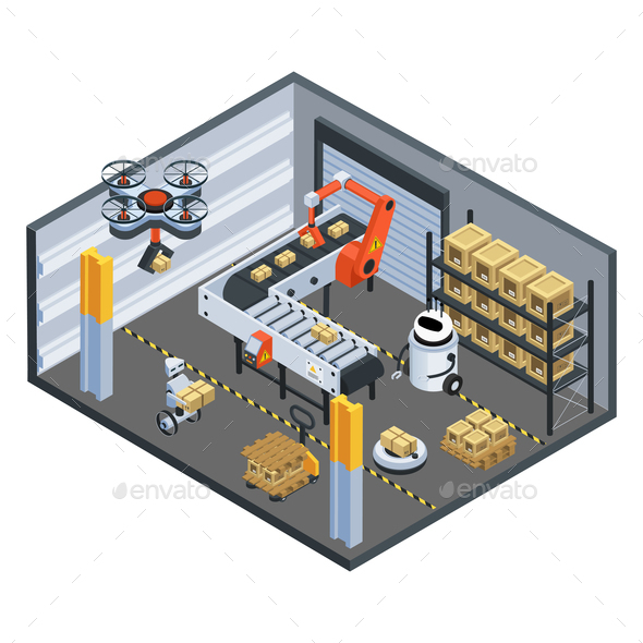 Automatic Logistics  Delivery Isometric Background - Buildings Objects