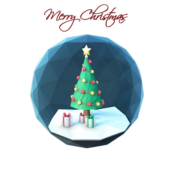 3DOcean Low poly Christmas scene inside a glass ornament 21079660