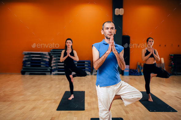Concentration exercise, female yoga group - Stock Photo - Images