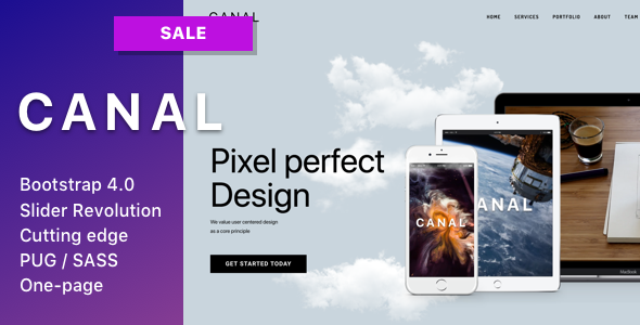 Canal - Single page HTML template for IT startups, businesses, small agencies and individuals Free Download | Nulled