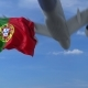 Airplane Flying Over Waving Flag of Portugal - VideoHive Item for Sale