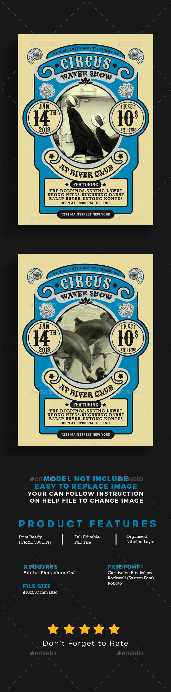GraphicRiver Vintage Marine Circus Carnival Flyer 21080742
