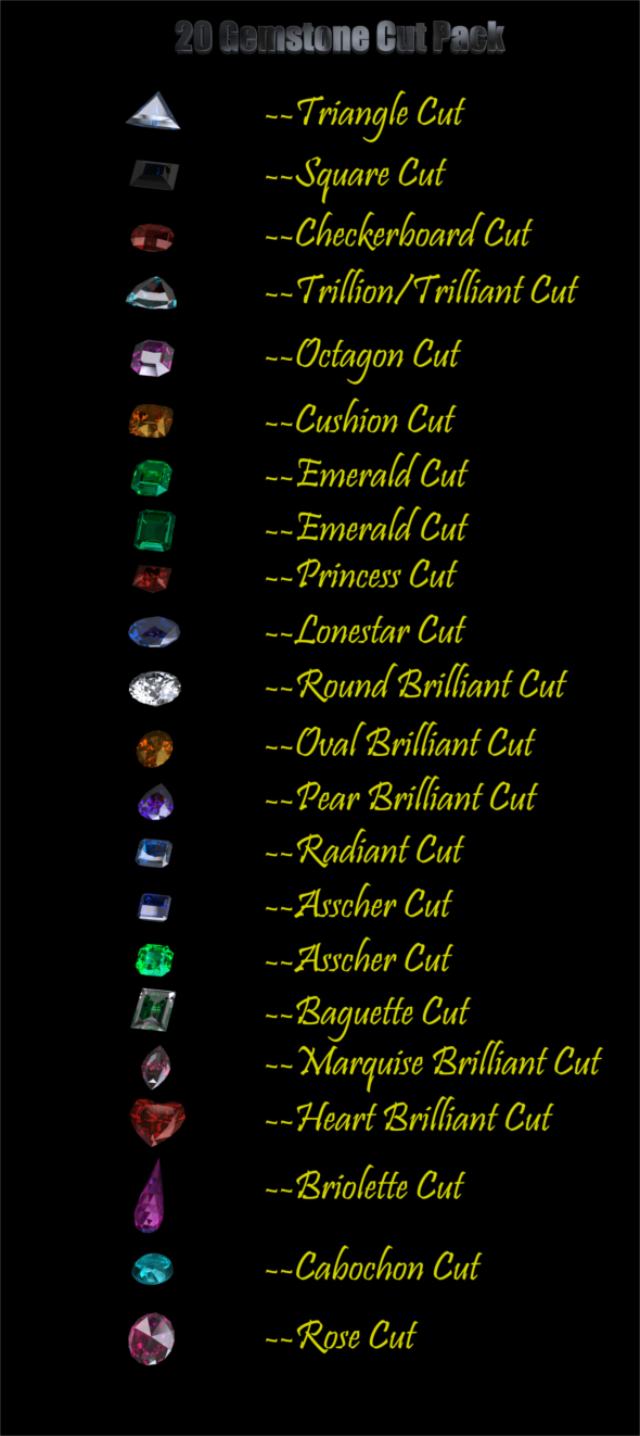 3DOcean 20 Gemstone Cuts Pack Low Poly 21080893