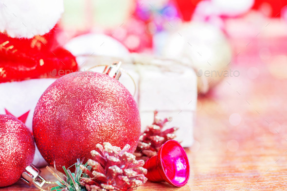 Balls and gifts of Christmas - Stock Photo - Images