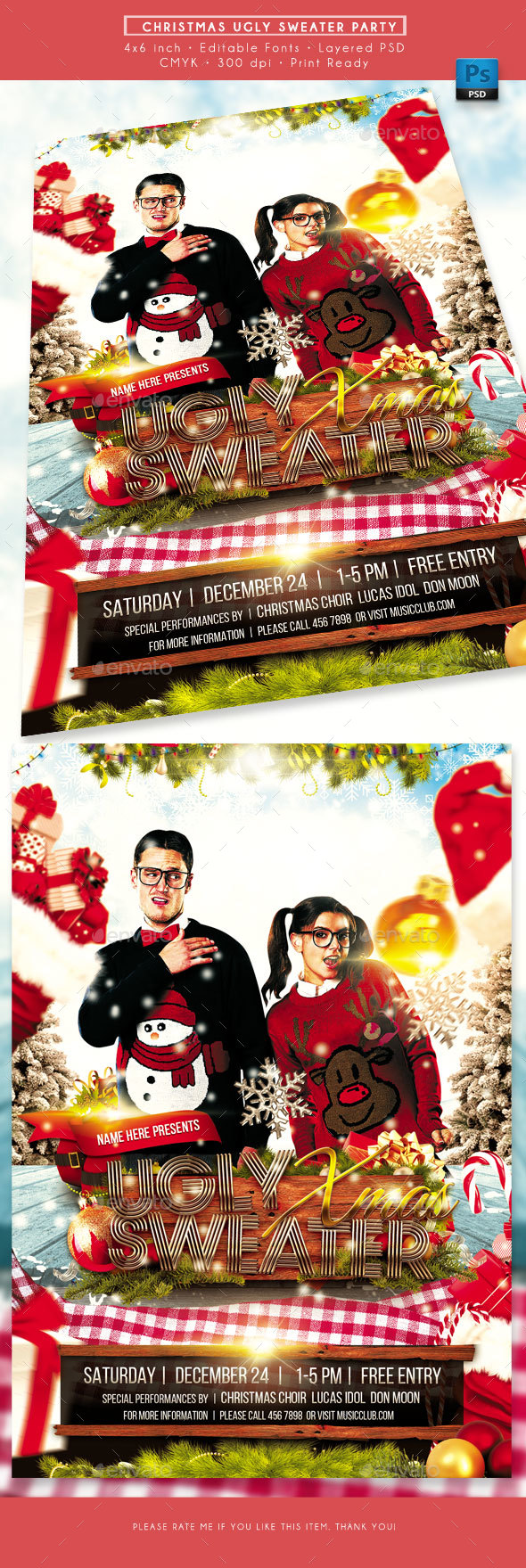 GraphicRiver Ugly Christmas Sweater Party Flyer 21080955