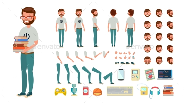 Geek Man Vector. Animated Character Creation Set - People Characters