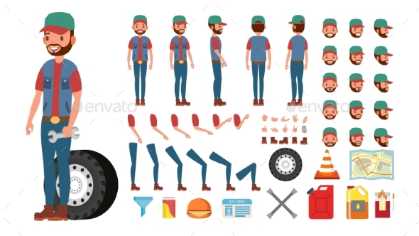 Truck Driver Vector. Animated Trucker Character - People Characters