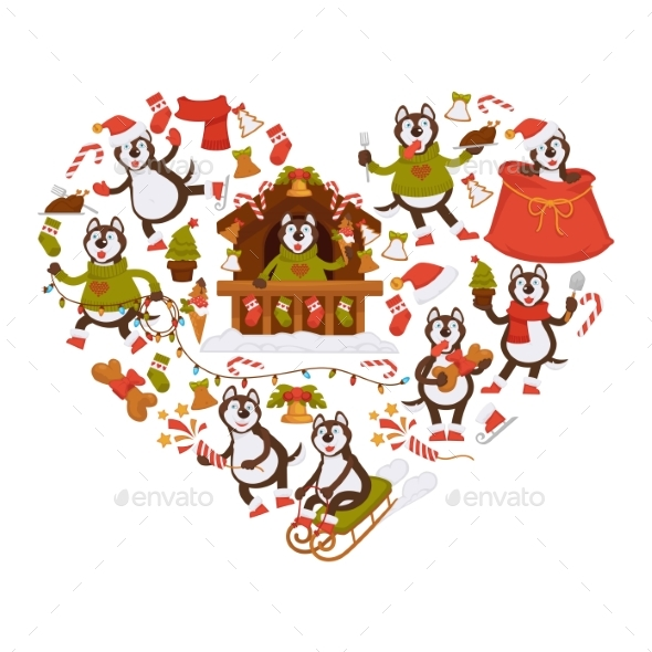 Husky Dog and Christmas Attributes in Heart Shape - Seasons/Holidays Conceptual