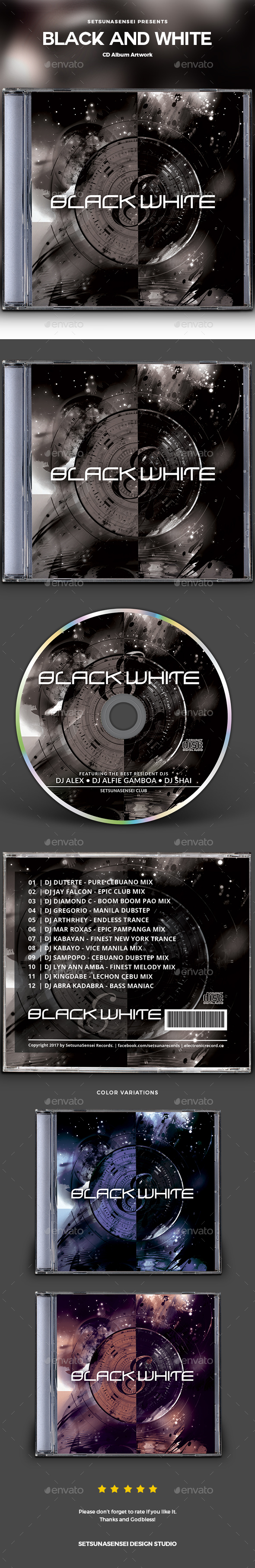 Black and White CD Album Artwork - CD & DVD Artwork Print Templates