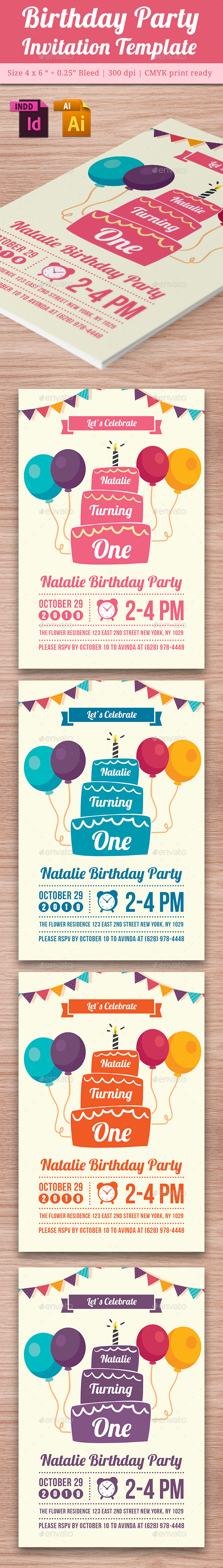 Baby Birthday Template - Vol. 4 - Cards & Invites Print Templates