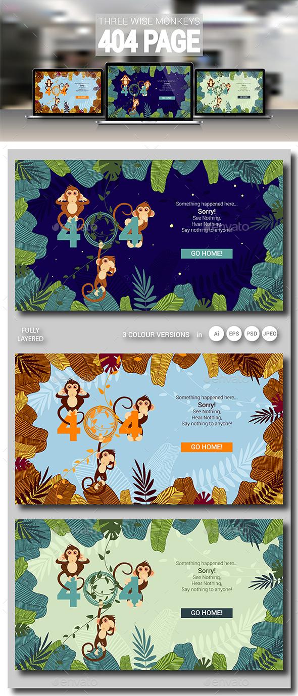 GraphicRiver Three Wise Monkeys 404 Error Page 21081449