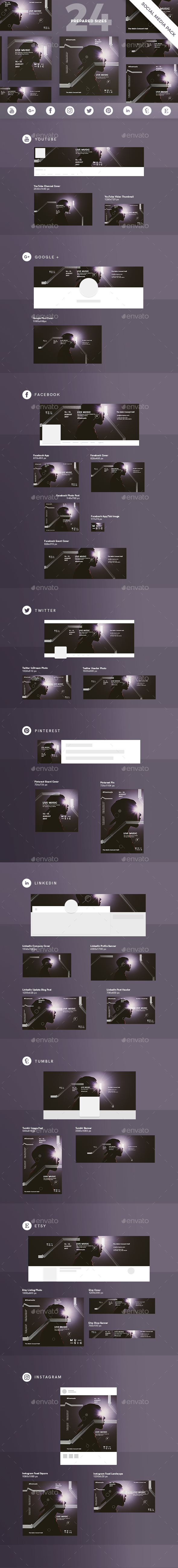 GraphicRiver Music Social Media Pack 21081697