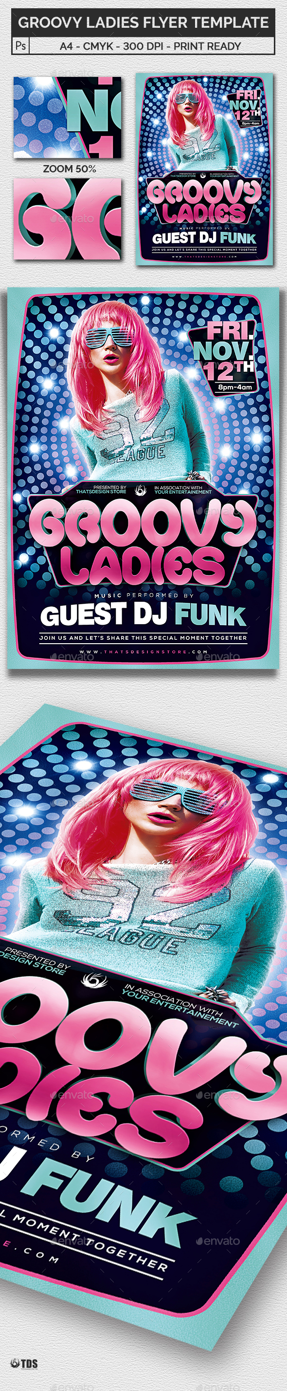 Groovy Ladies Flyer Template - Clubs & Parties Events