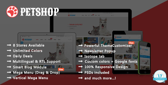 Pet Shop - Animal Care Responsive Prestashop 1.7 & 1.6 Theme - Shopping PrestaShop