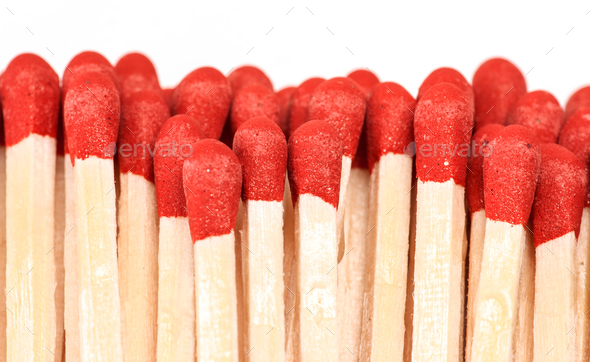 making approach unused wooden matches - Stock Photo - Images