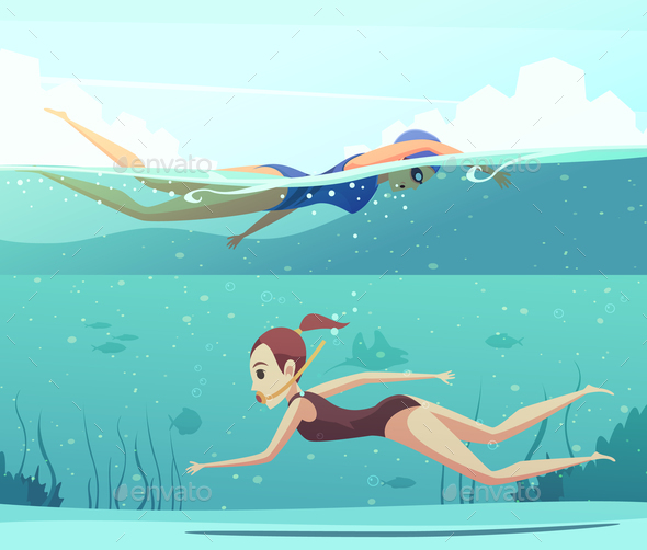 Water Sports Banners Set - People Characters