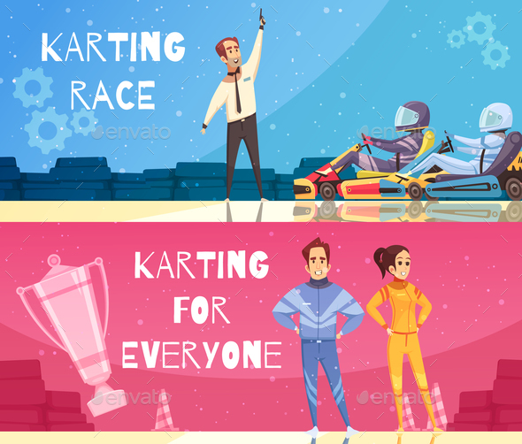 Karting Banners Set - Sports/Activity Conceptual