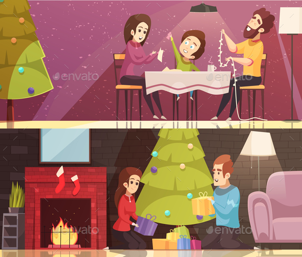 Christmas Cartoon Banners Set - People Characters