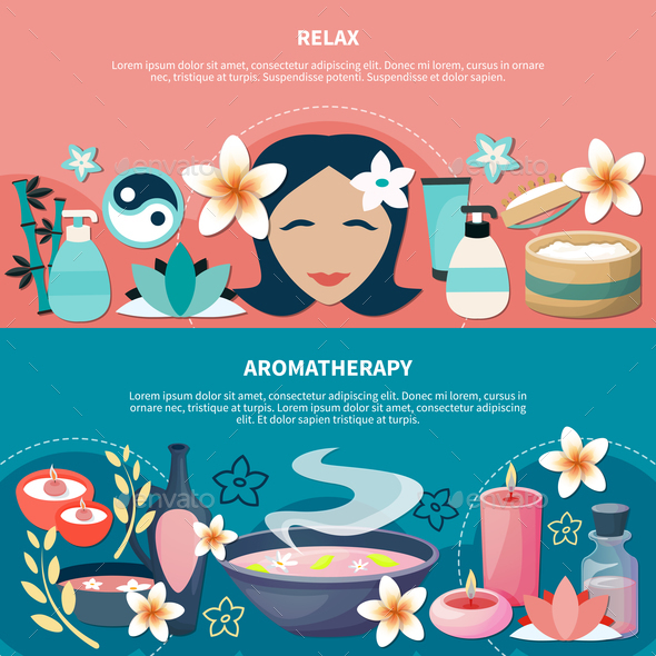 Spa Aromatherapy Relaxation Flat Banners - Business Conceptual