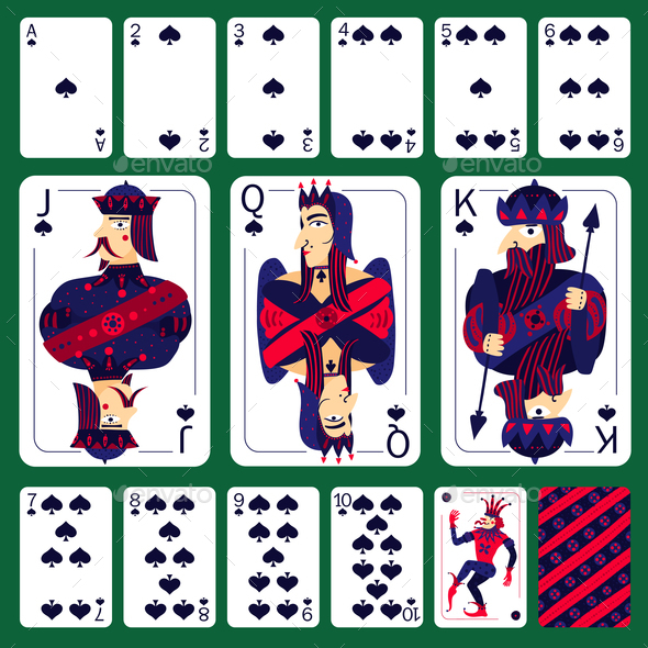 Poker Playing Cards Spade Suit  Set - Miscellaneous Vectors