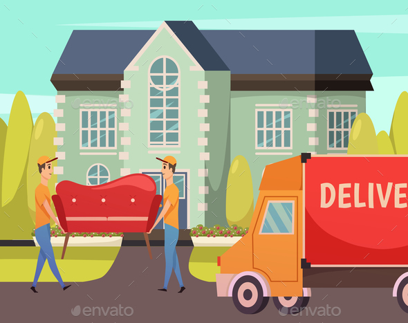 GraphicRiver Courier Delivery Service Orthogonal Composition 21082031