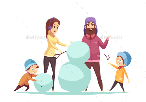 Cartoon Christmas Illustration - People Characters