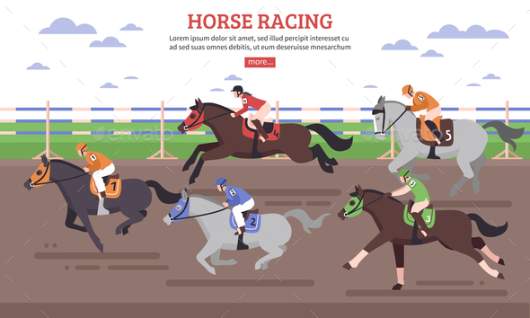 Horse Racing Illustration - People Characters