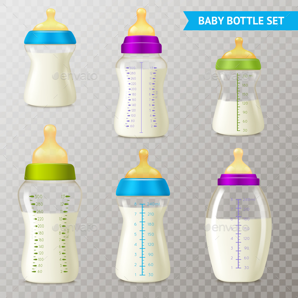 GraphicRiver Baby Bottles Transparent Set 21082050