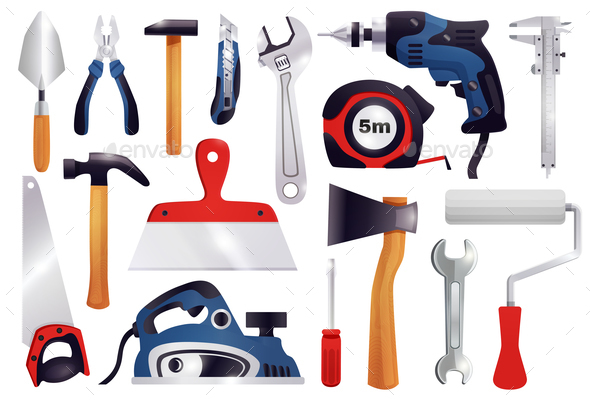 GraphicRiver Repair Renovation Carpentry Tools Set 21082056