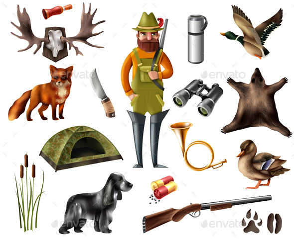 Hunting Icons Set - People Characters